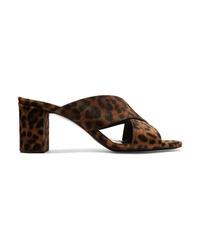 Saint Laurent Loulou Leopard Print Calf Hair Mules