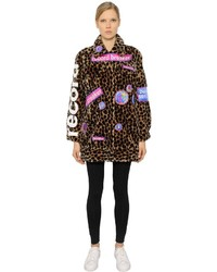 Embroidered patches on faux fur coat medium 828663