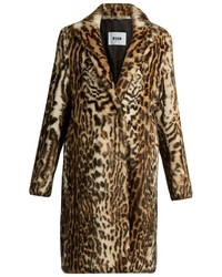 MSGM Leopard Print Rabbit Fur Coat
