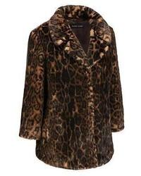 Black Rivet Notch Collar Dark Leopard Faux Fur Coat W 34 Sleeves