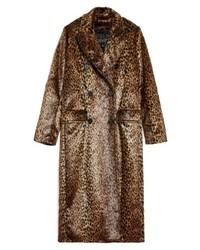 Topshop Toni Faux Fur Leopard Long Coat