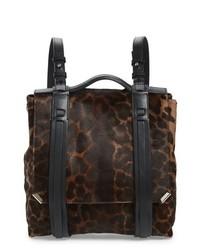 Dark Brown Leopard Leather Backpack