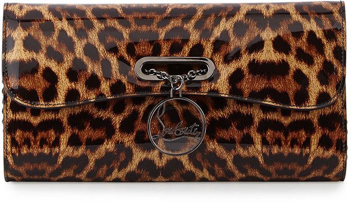 Louboutin Riviera Leopard Print Clutch Bag Brown