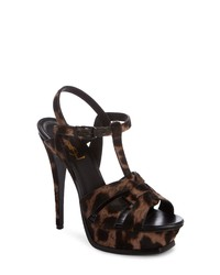 Dark Brown Leopard Leather Heeled Sandals