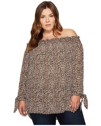 MICHAEL Michael Kors Michl Michl Kors Plus Size Leopard Off Shoulder Top Clothing