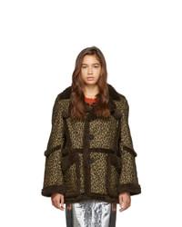 R13 Brown And Tan Imitation Sheepskin Coat