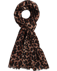 Dark Brown Leopard Scarf