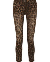 R 13 R13 Kate Distressed Leopard Print Low Rise Skinny Jeans Leopard Print