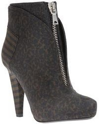 Dark Brown Leopard Suede Ankle Boots