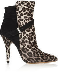 Tabitha Simmons Hunter Leopard Print Calf Hair And Suede Ankle Boots