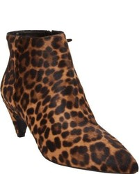 Prada Leopard Print Haircalf Curved Heel Ankle Boots