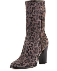 Jimmy Choo Music Leopard Print Suede Ankle Boot Gray