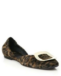 Dark Brown Leopard Suede Ballerina Shoes