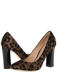 Dark Brown Leopard Suede Pumps