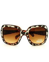 106Shades 2d Vector Outline Animal Print Oversized Fashion Rectangular Sunglasses Brown Leopard