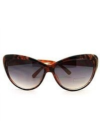 106Shades Classic Diva Animal Print Cat Eye Sunglasses Brown Leopard