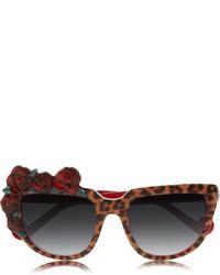 Anna Karin Karlsson Rose Rouge D Frame Leopard Print Acetate Sunglasses