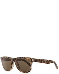 Saint Laurent Baby Cat Trapezoid Sunglasses Brownwhite