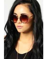Boohoo Melissa Leopard Retro Sunglasses