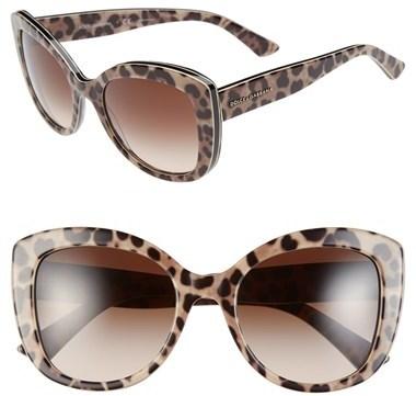 ... Dolce & Gabbana Dolcegabbana Animalier 53mm Cat Eye Sunglasses Black  Multi Leopard ...