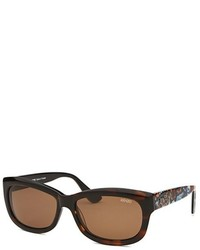 Kenzo Ecaille Rectangle Dark Havana Sunglasses