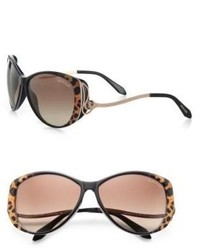 Roberto Cavalli Kandooma Leopard Round Drop Temple Sunglasses