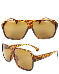 MLC Eyewear Square Shield Fashion Sunglasses Brown Leopard Frame Brown Lenses For And