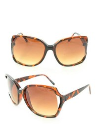 Overstock Uv512 Brown Leopard Plastic Square Sunglasses