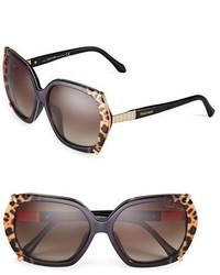 Roberto Cavalli Turais 56mm Leopard Print Trimmed Sunglasses