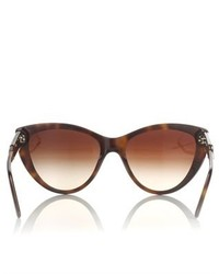 Stella McCartney White Leopard Cat Eye Sunglasses