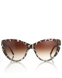 Stella McCartney White Leopard Cat Eye Sunglasses