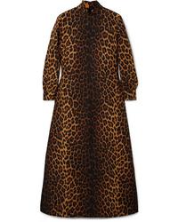 Gucci Leopard Print Wool Blend Maxi Dress