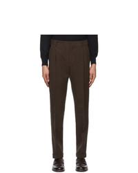 Loro Piana Brown Linen Two Pinces City Trousers