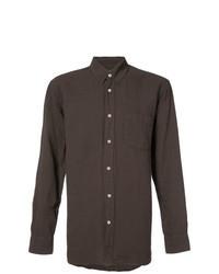 Dark Brown Linen Long Sleeve Shirt