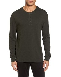 Dark Brown Long Sleeve Henley Shirt