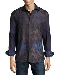 Robert Graham Limited Edition Textured Leaf Pattern Sport Shirt Brown