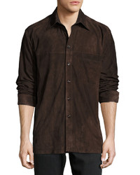 Luciano Barbera Suede Button Front Overshirt