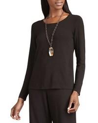 Eileen Fisher Long Sleeve Slim Jersey Tee Chocolate Plus Size