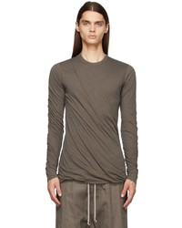 Rick Owens Taupe Double Long Sleeve T Shirt