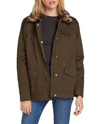 Volcom V 51 Faux Fur Collar Cotton Jacket