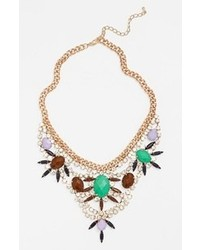 Guinevere Crystal Statet Necklace Green Brown