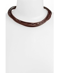 Simon Sebbag Multistrand Leather Necklace Silver Brazilian Brown