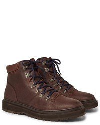 Brunello Cucinelli Shearling Lined Distressed Nubuck Boots