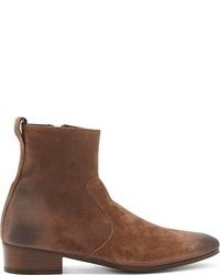 Haider Ackermann Brown Distressed Nubuck Chelsea Boots