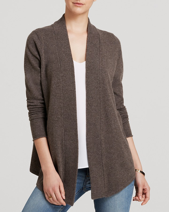 Aqua Cashmere Cardigan Open Ribbed Trim | Where to buy & how to wear