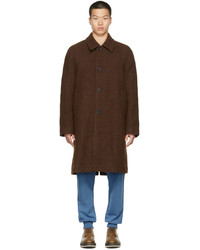Dries Van Noten Brown Felted Alpaca Coat