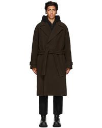 Juun.J Brown Wool Layered Coat