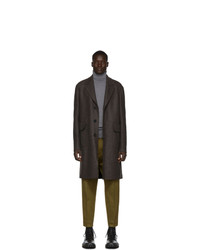 Harris Wharf London Brown Wool Pressed Mouline Long Coat