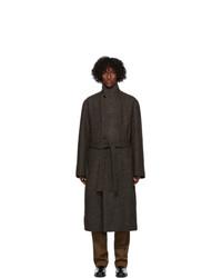 Lemaire Brown Wool Tweed Coat