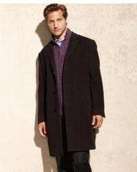 Calvin Klein Coat Plaza Brown Twill Wool Blend Overcoat
